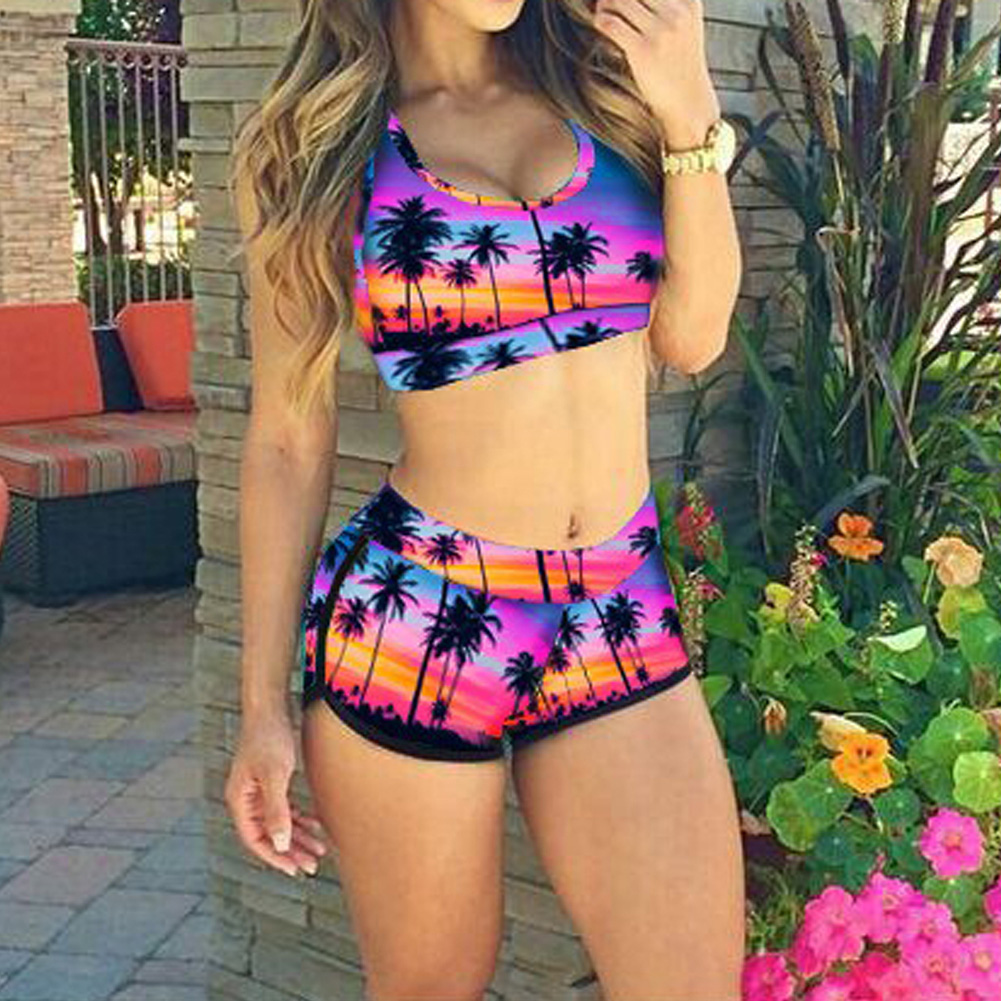 Women Fat Swimsuit Summer Swimwear Floral Emoji Leopard Sexy Bikini Set Padded Beach Suit Plus Size Bathing Suit maillot de bain summer sexy triangle cross bikini set swimwear women padded tankini beach one shoulder top swimsuit bathing maillot de bain