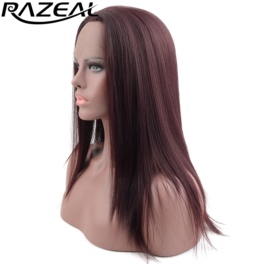 Long Natural Straight Synthetic Lace Front Wig Glueless Auburn Razeal High Temperature Heat Resistant Fiber Hair Women Wigs