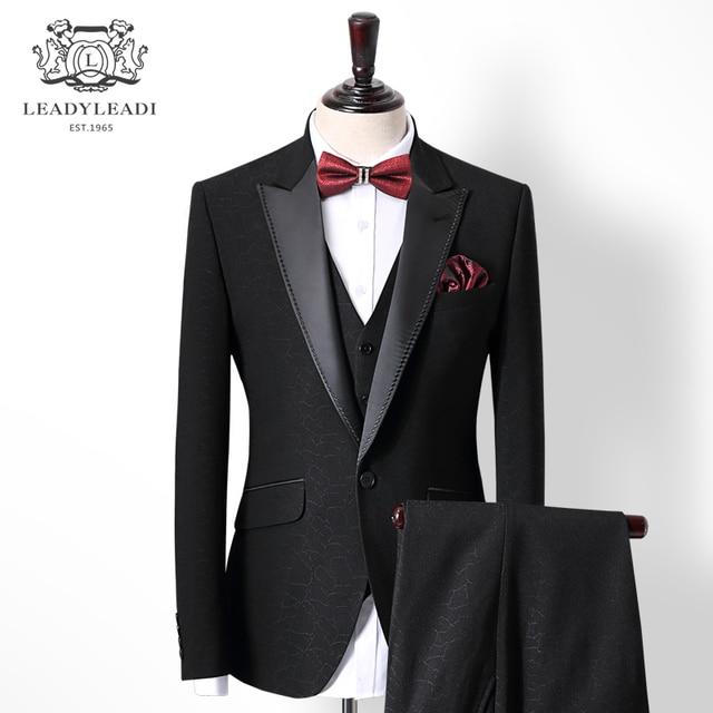 fbe1616601c0a Nuevo negocio boda Negro hombres trajes Blazers esmoquin Formal masculino  trajes Slim Fit traje Prom Party