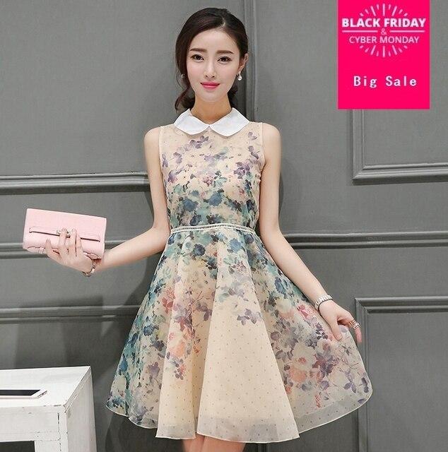 3ebbe942571 2019 NEW Fashion brand Vestidos Plus Size Doll Collar Sleeveless FLOWERS  Printed Summer Dresses Jacquard Cute Women Dress G469