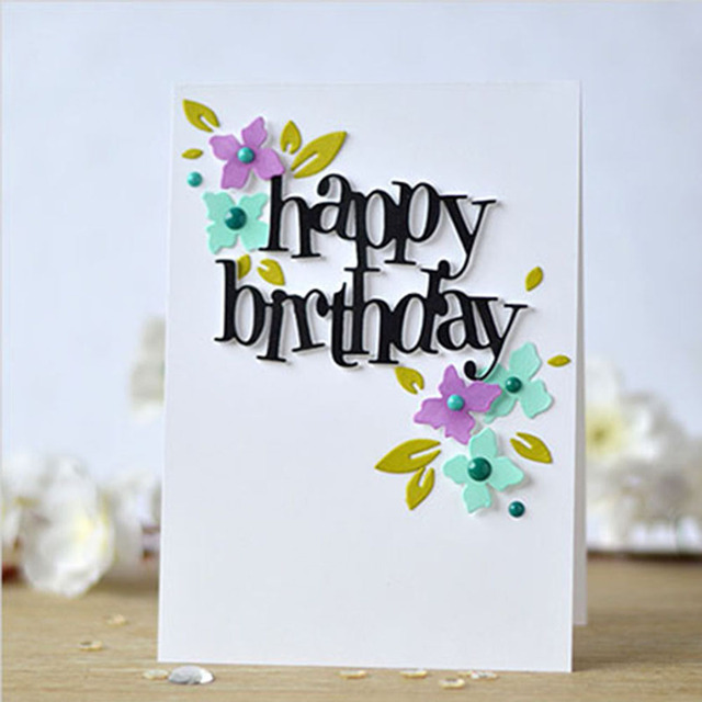 diy happy birthday letter metal cutting dies photo album decor cards making cutting dies scrapbooking stencils