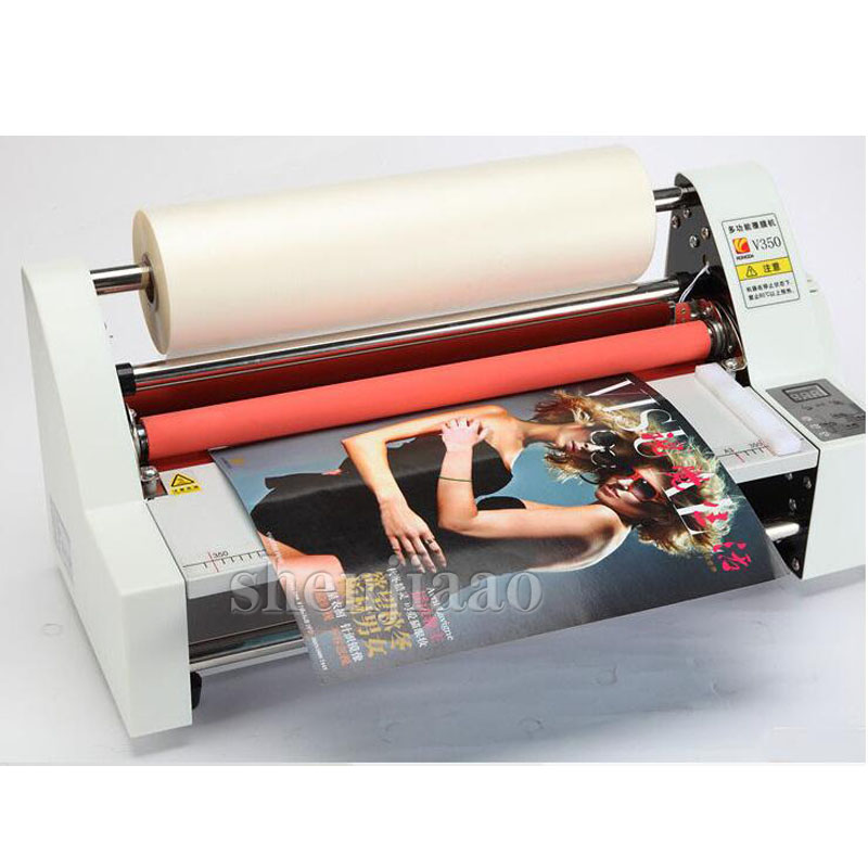 V350 film roll laminator Four Rollers Hot Roll Laminating Machine electronic temperature control single 220v 1pc 2018 new hot roll and cold roll laminator 320mm laminating machine with led control board and 4 pcs rubber rollers