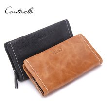 CONTACT'S Classical England Style Men Wallets Genuine Leather Wallet Vintage Zipper Brand Purse 18 Card Holder Wallet Man Clutch