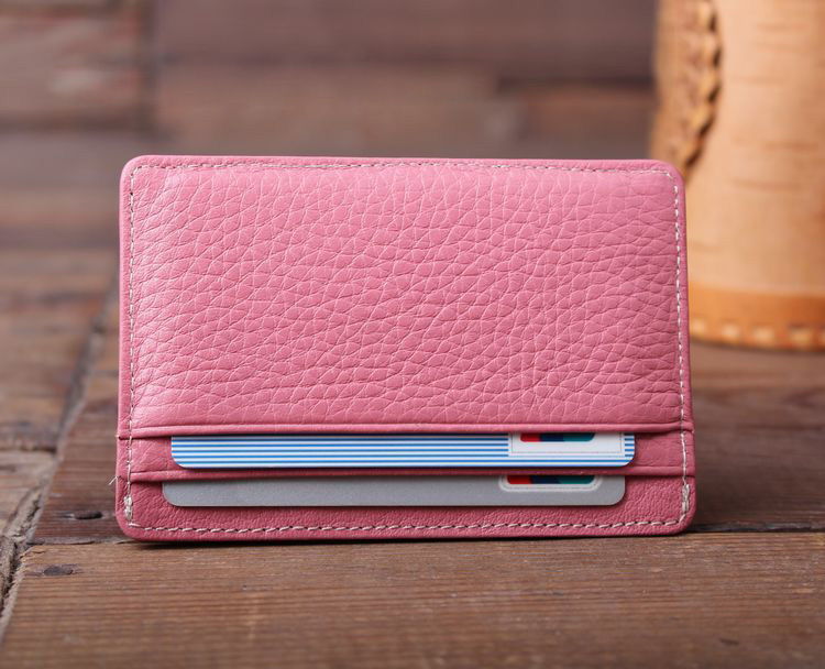 man woman mini faux leather slim card holder lady pocket purse credit cards wallet organizer pinkblueblack in card id holders from luggage bags on - Pink Card Holder