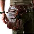 New Top Quality Genuine Real Leather men vintage Brown Small Belt Bag Waist Pack Drop Leg Bag 3106