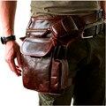 Novos de Alta Qualidade Genuína homens De Couro Reais do vintage Marrom Pequeno Saco Cinto Pacote de Cintura Bolsa de Perna Queda de 3106