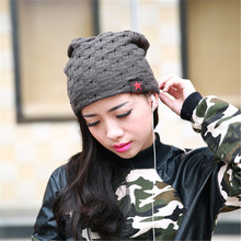 Winter Knitted Wool Cap Unisex Folds Casual CC labeling Beanies Hat Solid Color Hip-Hop Skullies Beanie Hat Gorros JX-A-115