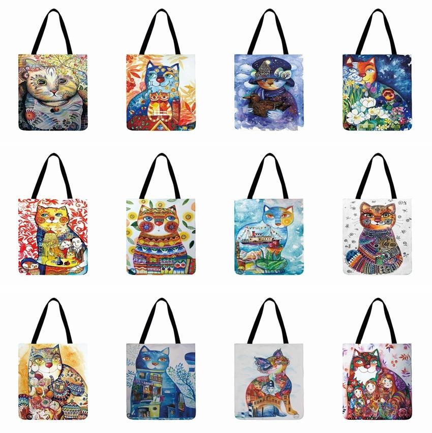 Ladies Shoulder Bag Watercolor Cat Printed  Casual Tote Bag For Women Outdoor Beach Bag Foldable Shopping Bag Daily Hand Bag