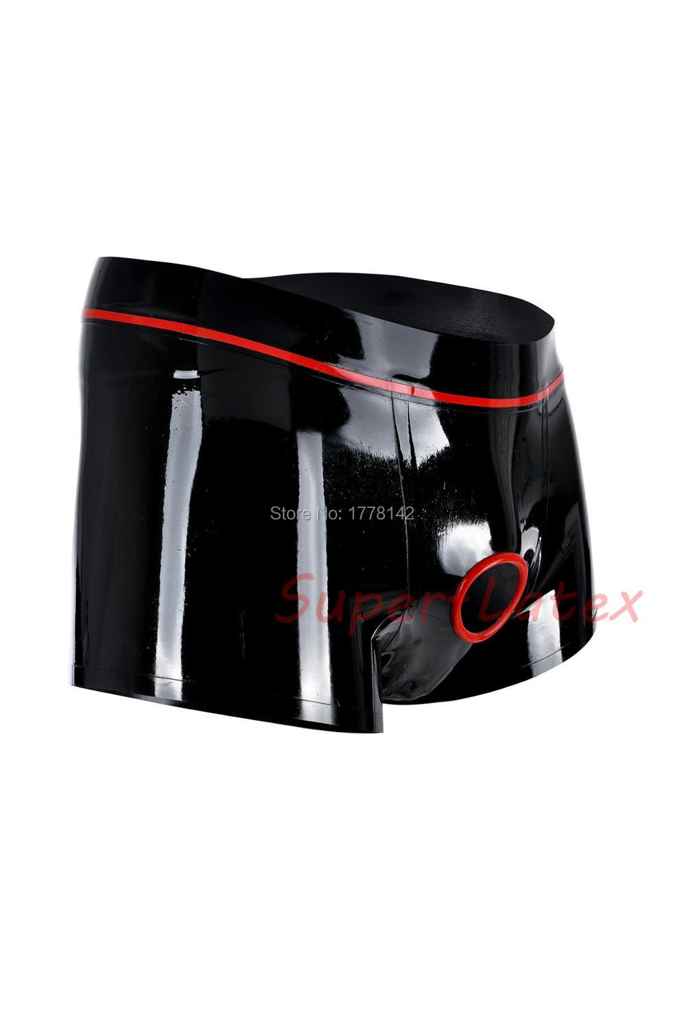 Latex Boxer Men Underwear With Trims Crotch Holes Customized