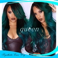 Ombre wigs Turquoise Green Teal Body Wave Synthetic Lace Front Wig Glueless Natural Black/Green Heat Resistant Hair Wigs New