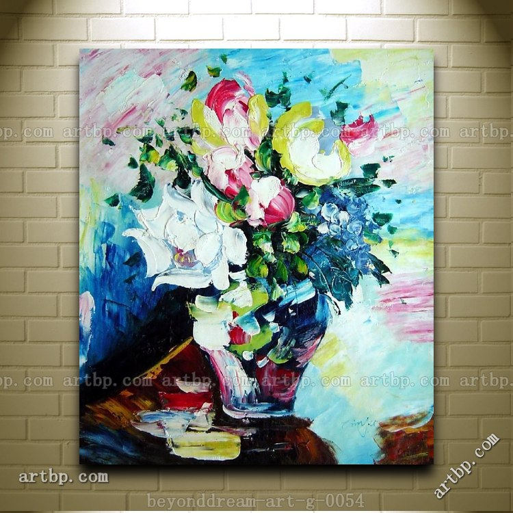 canvas art ideas knife painted multi color flowers painting 30287