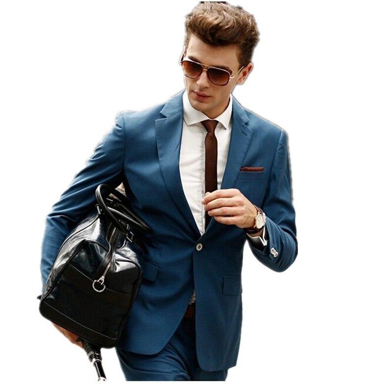 Online Shop New men business suits Blue collar single one button ...