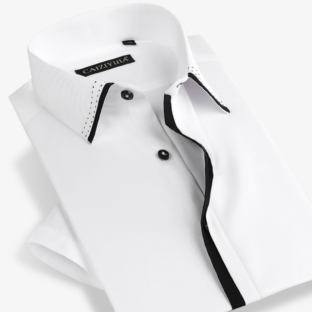 Famous Brand Men Short Sleeve Shirt Casual Slim Fit Fashion Male White Formal Business Summer Style Dress Shirt Plus Size 4XL
