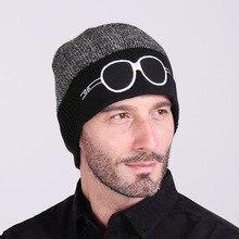 Autumn and winter new cartoon bicolor glasses knit hat men and women wool cap warm ski Skullies & Beanies