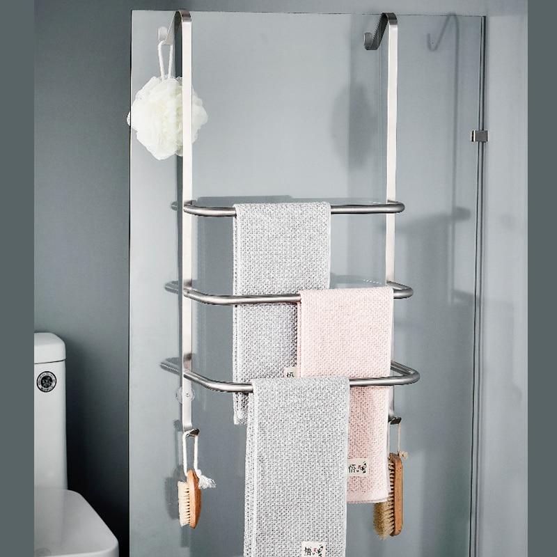 Us 43 19 20 Off Sus304 Stainless Steel 3 Tiers Towel Rack Bathroom Accessories In Brushed Nickel Bar Wall Shelf With Hook Holder