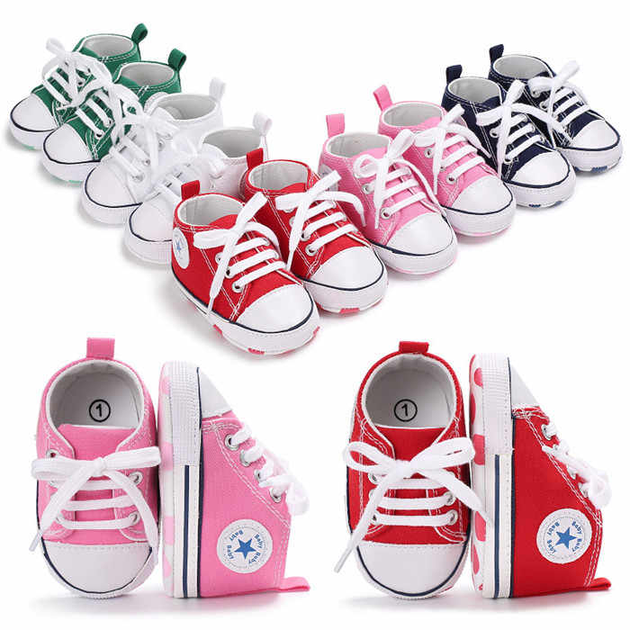 695220bf7bf ... Newborn Canvas Infant Toddler Soft Sole Anti-slip All Star Baby Shoes  Sports Sneakers Baby ...