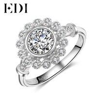 EDI 꽃 헤일로 0.8ct 라운드 컷 모이 사 나이트 다이아몬드 14 천개 585 화이트 골드 약혼 반지 웨딩 밴드 여성 보석