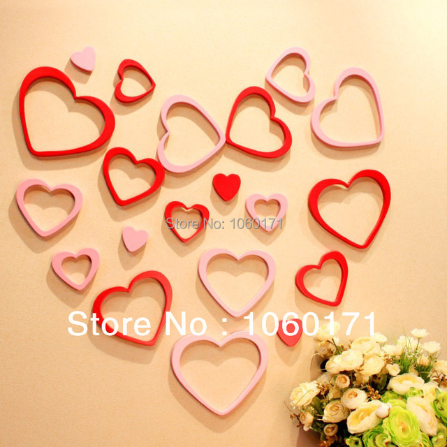 wedding decoration love heart wall stickers home decor adesivo de ...