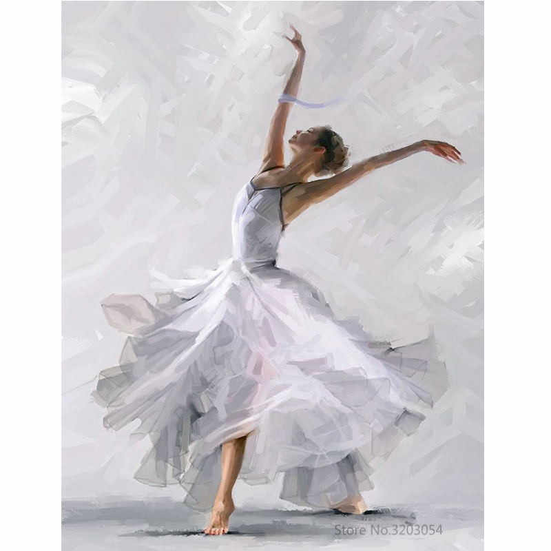 CHUNXIA Framed DIY Painting By Numbers Ballet Girl Acrylic Painting Modern Picture Home Decor For Living Room 40x50cm RA3499