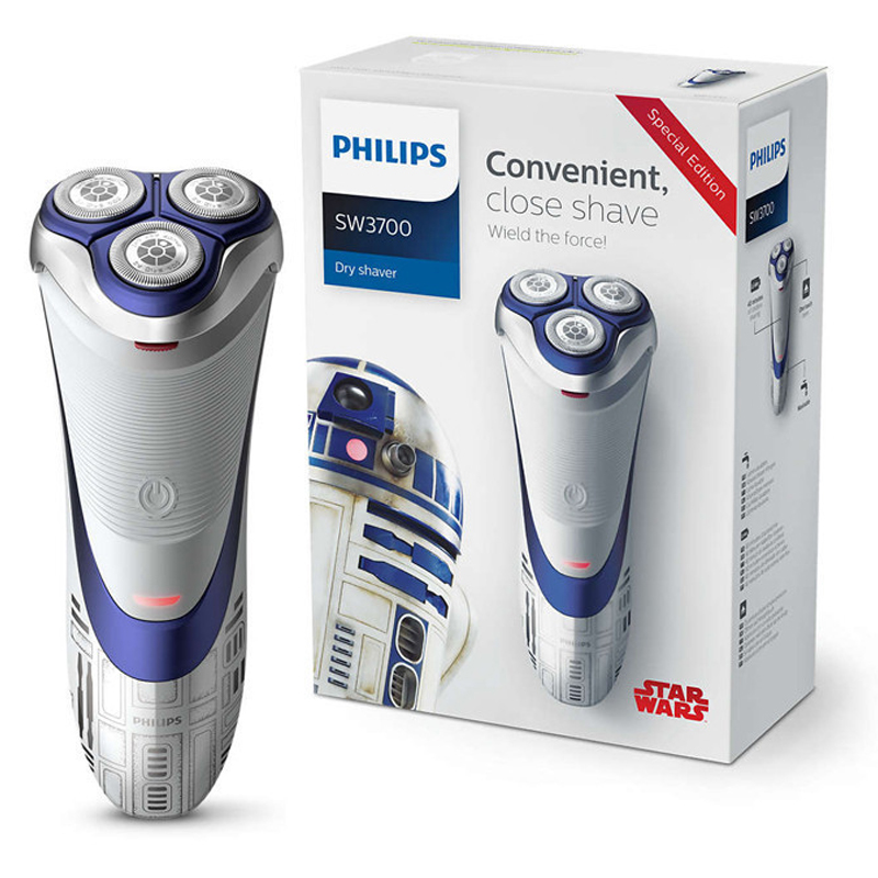 Philips Electric Shaver Star Wars Robot SW3700 100-240V Triple Blade Rotate Rotary Rechargeable Electric Razor For Men Face Care