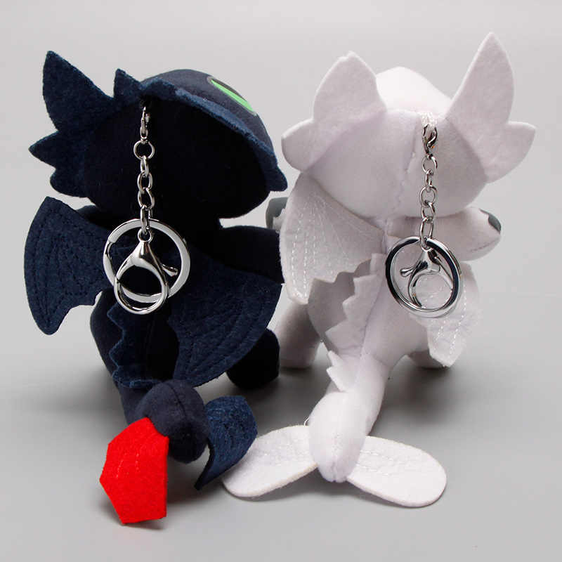 2 pçs/set 18 cm 3 Keychain Como treinar O Seu Dragão Desdentado Fúria Da Noite Plush Toy Dragão Boneca de Pelúcia Macia brinquedos Luz Branca Fúria