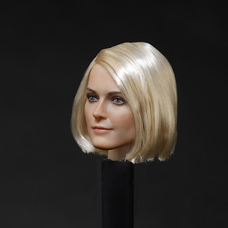 D 001 1 6 Female Head Sculpt Short Hair Style Head Carving Model Fit 12