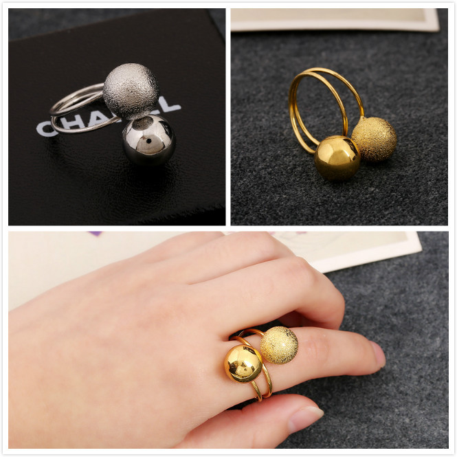 Peas Ball Ring For Women Light Sand Ring Silver Gold Punk Twist Adjustable Beans Ring Simple Fashion Jewelry Wholesale Gifts
