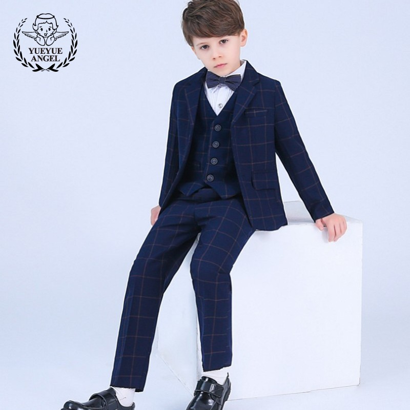 Children Suit Boys Spring Winter Boy Child Costume Wedding Blue Plaid Jecket Bow Tie Full Shirt For Boy Kinderkleding Jongens anime sakura akizuli nakuru cosplay costume blue suit shirt coat skirt tie d