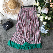 2019 Ins pleated large swing skirt women's literary A-line l