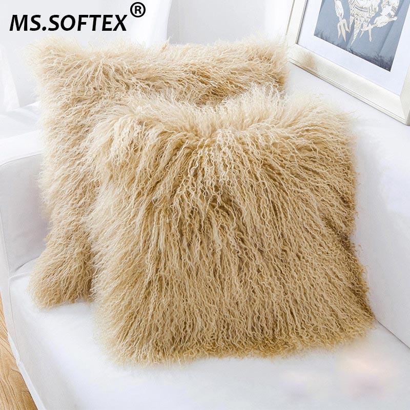 ms softex mongolian lamb fur pillow case real fur cushion cover high quality natural lamb fur pillow cover fluffy fur
