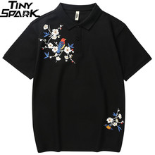 Casual Shirt Cotton Short-Sleeve Embroidery Black Mens Summer Floral Hip-Hop