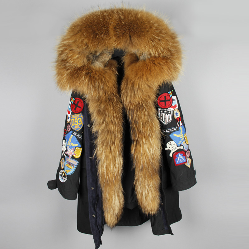 maomaokong 2017 new European and American big raccoon fur collar long paragraph leisure cotton coat jacket female 2016 rabbit hair in the cotton coat big raccoon fur collar jacket