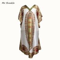 מר Hunkle מסורתי עיצוב 2017 אופנה חדשה הדפסת בגדים אפריקאים דאשיקי יהלומים צוואר רקום שמלות אפריקאיות לנשים