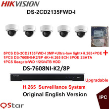 Hikvision English CCTV Security System 5xDS-2CD2135FWD-I 3MP H.265 Ultra-low light IP Camera POE+4K NVR DS-7608NI-K2/8P H.265