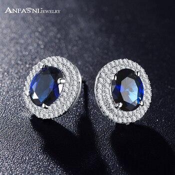 ANFASNI nueva llegada ronda pendientes Plt Micro incrustaciones AAA Cubic Zircon lujo azul al por mayor pendiente CER0192