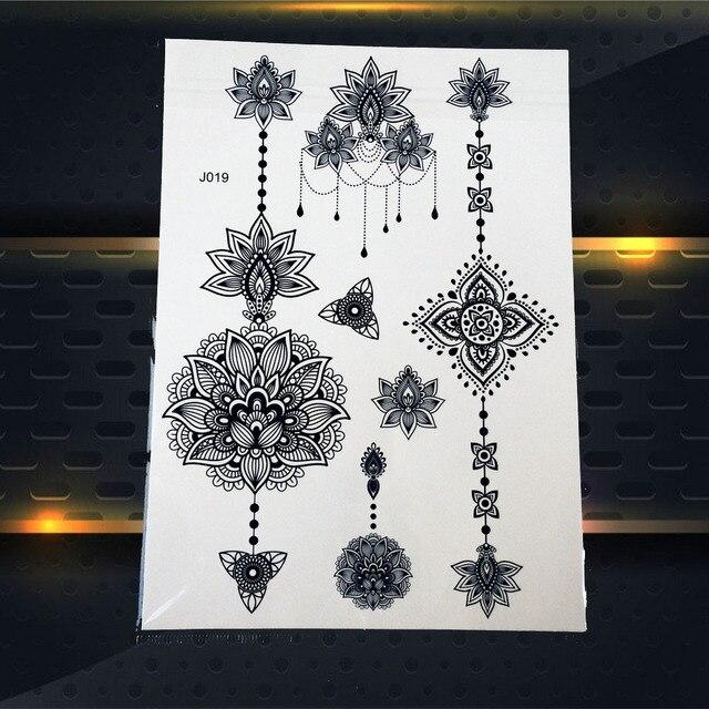 1 PC Chaude Dreamcatcher Grand Soleil Indien Fleur Tatouage Temporaire Au Henné Noir Mehndi Plume Style Étanche Autocollant de Tatouage PBJ013A