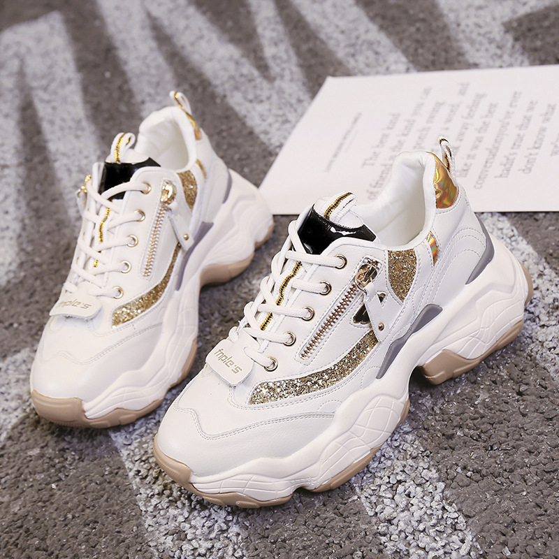 Ladies Glitter Chunky Sneakers Platform Casual Dad Shoes White Dames Sneakers Women Shoes Trainers Basket Chaussure Femme 2019