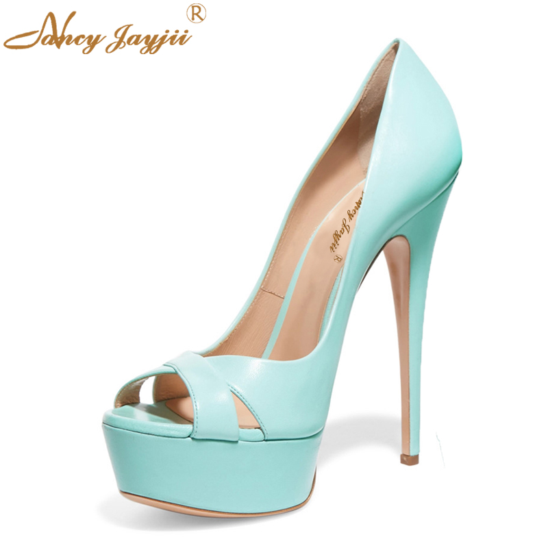 2018 New Designer Woman Shoes Lady Spring Sexy Blue Leather High Heels Wild All-match Pumps With Platform Little Fresh Size10 11 the little old lady in saint tropez