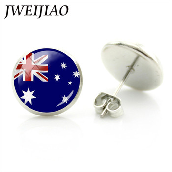 JWEIJIAO National Flags Stud Earrings Andorra,Croatia,Argentina,USA,UK Flag Earrings Glass Gems Stainless Steel Jewelry FG05 image