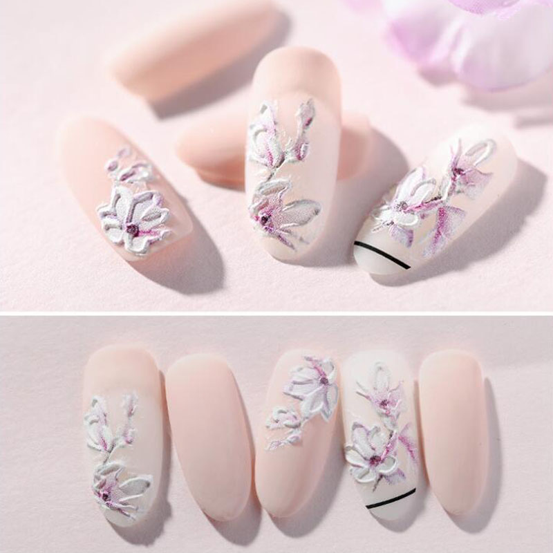 1pc Acrylic Engraved Flower Nail Sticker Embossed Flower Nail Water Transfer Slider for Manicure Nail Art Decoration in Stickers Decals from Beauty Health