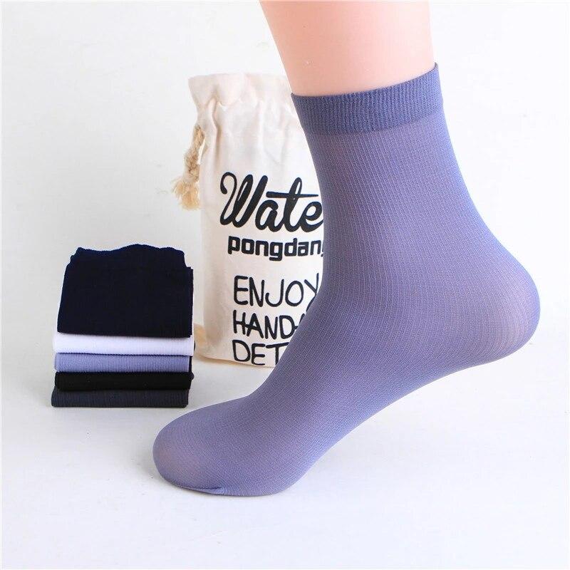 5 Pairs/set Men's Stocks Summer Thin Men's Socks Solid Color High Elastic Wear-resistant Ice Silk Cool Sockings Business Socks