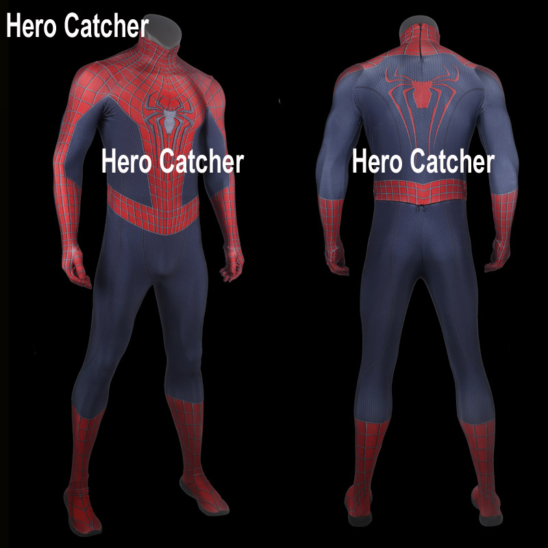 Hero Catcher Top Quality Movie Spiderman Cosplay Costume For Halloween Amazing Spider-man Costume Spandex Spiderman Suit