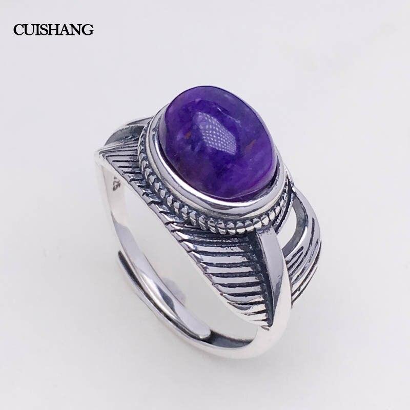 CSJ véritable naturel Sugilite anneaux en argent sterling femmes femme dame mariage fiançailles fête cadeau bijoux fins