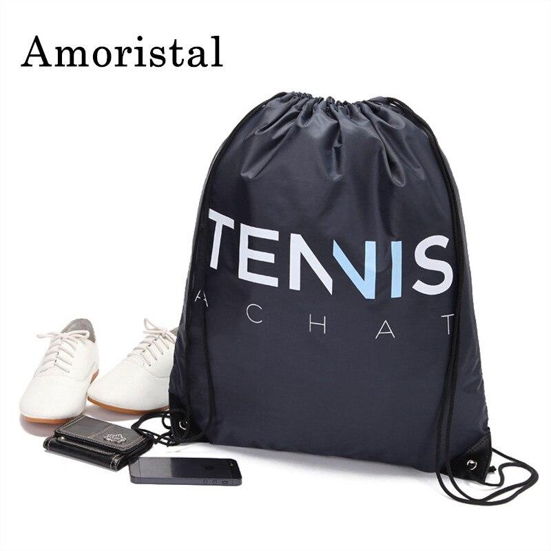 Mochila Storage Bags Unisex Drawstring Bag Boy Waterproof Men's Basket Ball Bag Women Draw String Cinch Shoulder Bags Black B138