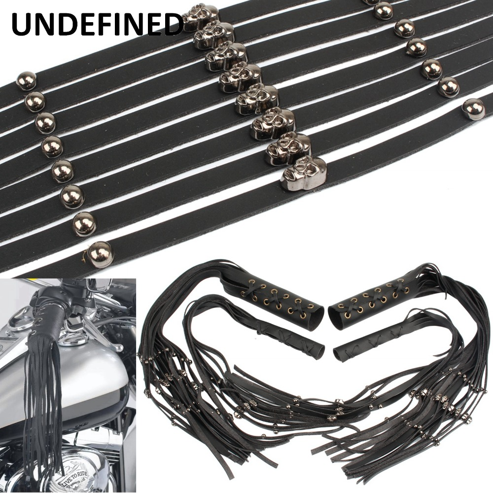 Black Solid Leather Motorcycle Grip Covers Throttle Handlebars Biker 12 Fringe