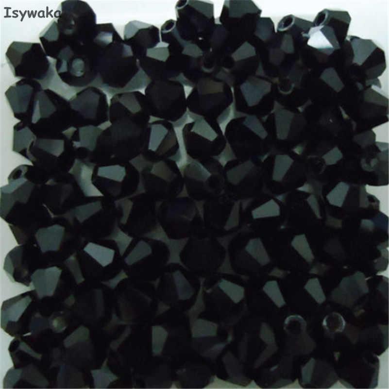 Isywaka Dijual Warna Hitam 100 Pcs 4 Mm Bicone Austria Crystal Beads Pesona Manik-manik Kaca Longgar Spacer Bead untuk DIY membuat Perhiasan