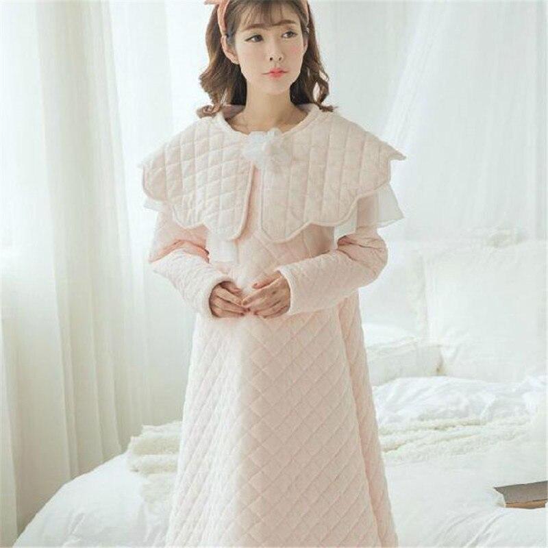 Thicken Three Layer Cotton Nightdress Female Winter Warm Vintage Royal Palace Pyjama With Sleepwear Woman SA16058