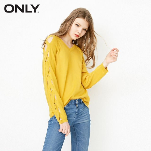 ONLY Women's See-through V Neckline Loose Fit Knit Pullover Sweater|118124555