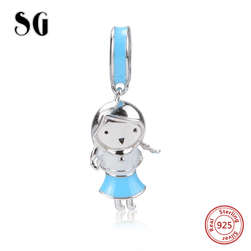 Fit Authentic pandora Bracelets Charms Dress Girl With Blue Enamel Beads sterling Silver 925 For Jewelry Making Women Gifts