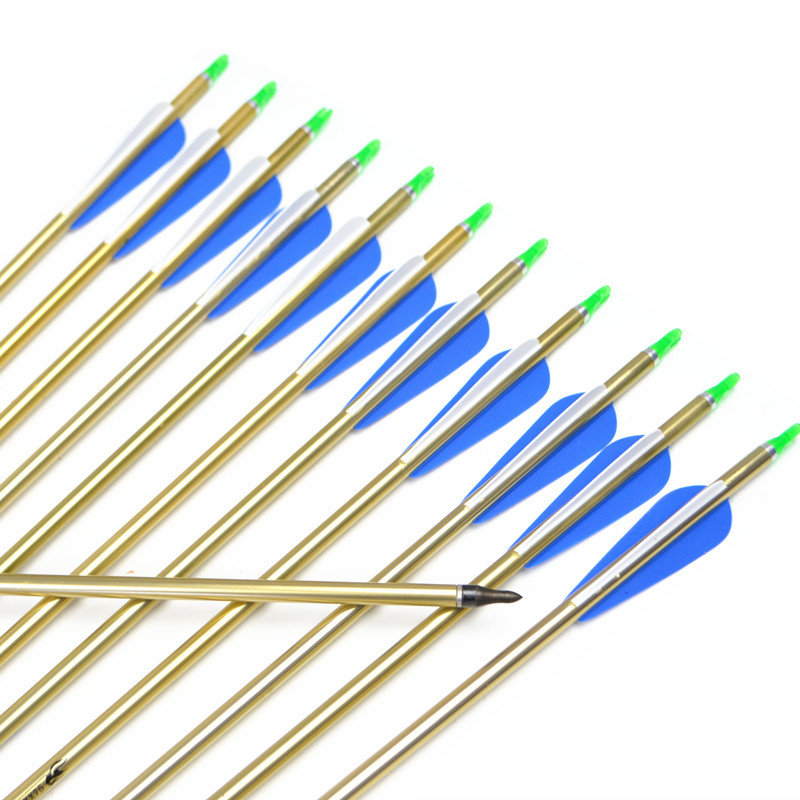 12st boogschieten gouden aluminium pijlen, 31,5 inch (80cm), rug - Jacht